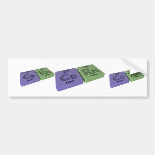 Corn as Co Cobalt and Rn Radon Bumper Stickers