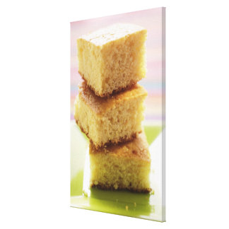 Corn bread, cut into cubes (in a pile) canvas print
