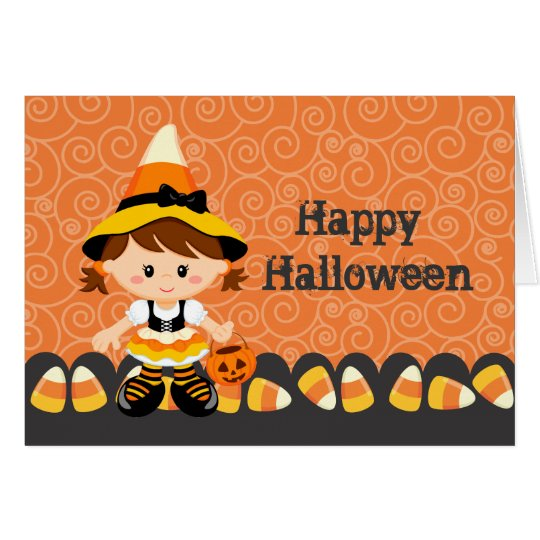 Corn Candy Little Witch Girl Happy Halloween Card