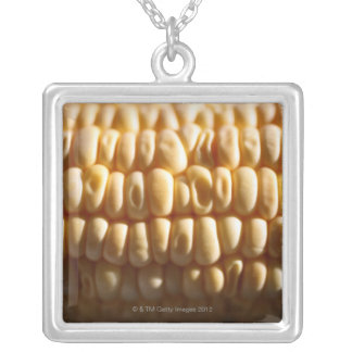 Corn close-up silver plated necklace