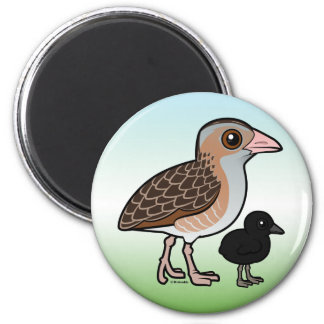 Corn Crake with baby Magnet