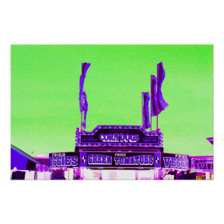 corn dog purple stand green spotty sky poster