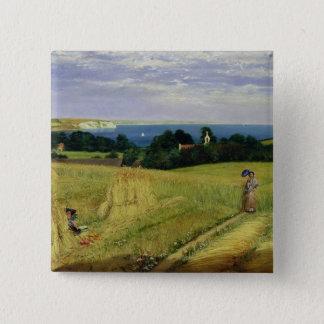 Corn Field in the Isle of Wight 15 Cm Square Badge