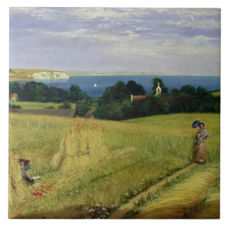Corn Field in the Isle of Wight Large Square Tile