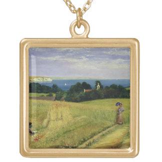 Corn Field in the Isle of Wight Square Pendant Necklace