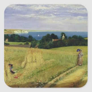 Corn Field in the Isle of Wight Square Stickers