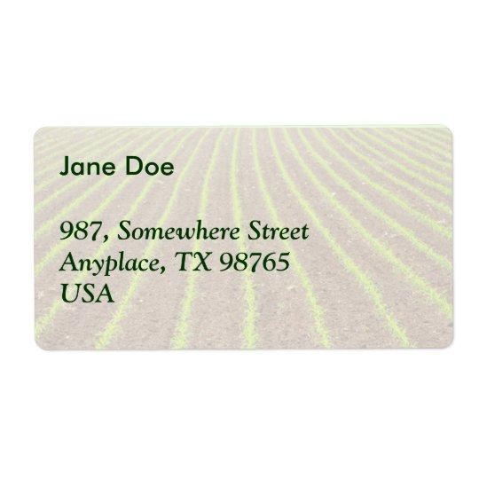 Corn field shipping label