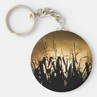Corn field Silhouettes Key Ring