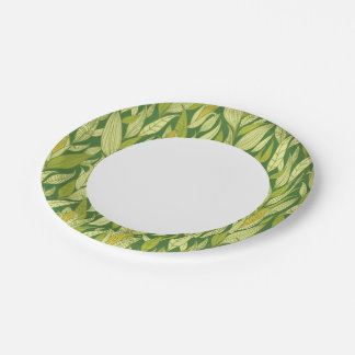 Corn plants pattern background 7 inch paper plate