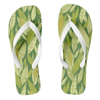 Corn plants pattern background flip flops