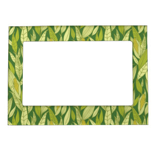 Corn plants pattern background magnetic frame