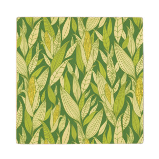 Corn plants pattern background wood coaster