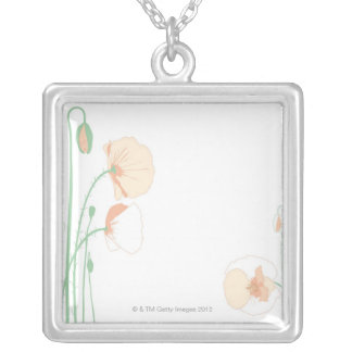 Corn Poppy Silver Plated Necklace