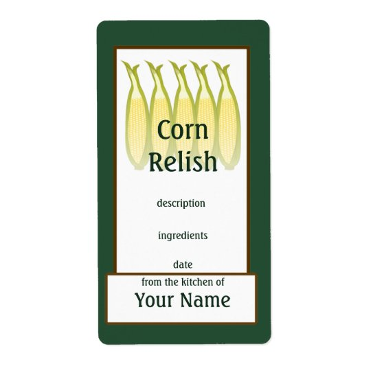 Corn Relish Preserves Label