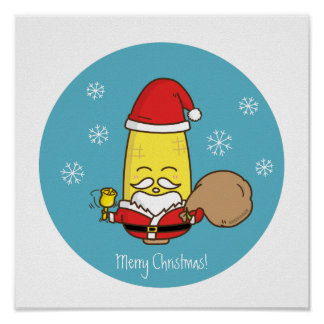 Corn Santa Claus Merry Christmas Poster