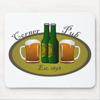 Corner Pub Beer Mugs and Bottles Mouse Pad