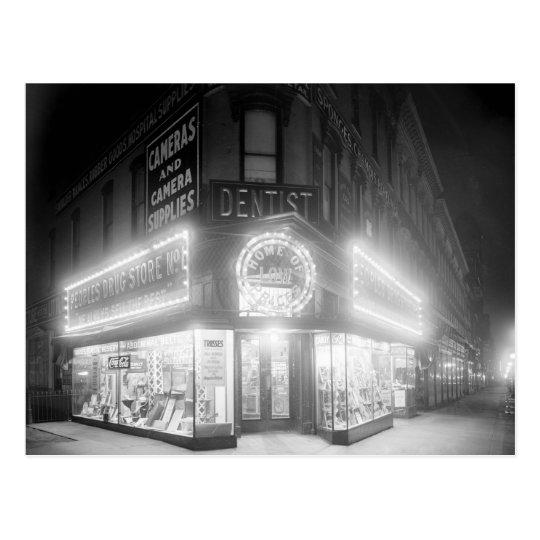 Corner Store At Night, 1920 Postcard