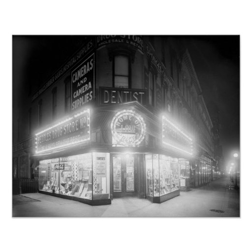 Corner Store At Night, 1920 Print