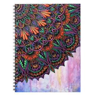 Corner Sunset Mandala Over Watercolor Spiral Notebooks