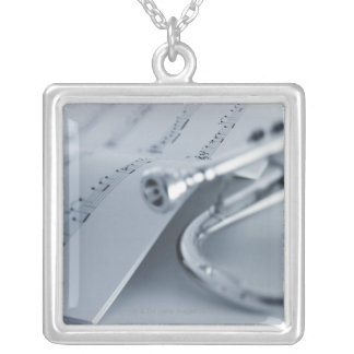 Cornet and Music Book Silver Plated Necklace