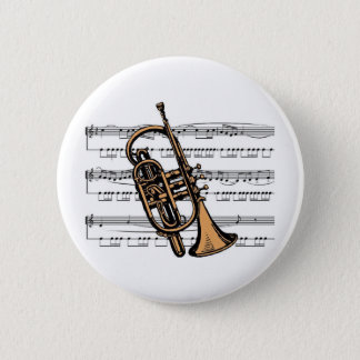 Cornet musical 08 B 6 Cm Round Badge