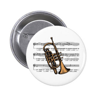 Cornet musical 08 B 6 Cm Round Badge