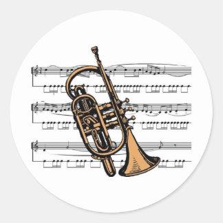 Cornet musical 08 B Classic Round Sticker