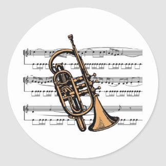Cornet musical 08 B Round Sticker