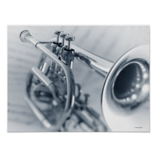 Cornet on Music Sheets Poster