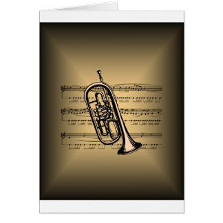Cornet With Sheet Music Background Greeting Card