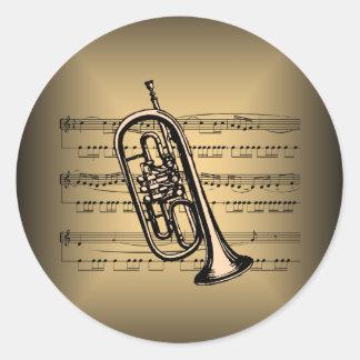 Cornet With Sheet Music Background Round Sticker