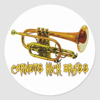Cornets Kick Brass Round Sticker