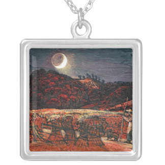 Cornfield by Moonlight, 1830 Silver Plated Necklace