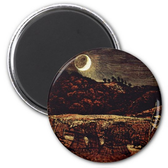 Cornfield In The Moonlight By Palmer Samuel 6 Cm Round Magnet