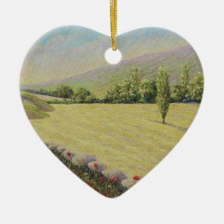 Cornfield near Eymet, Dordogne France in Pastel Ceramic Heart Decoration