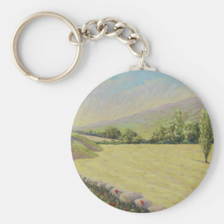 Cornfield near Eymet, Dordogne, France in Pastel Key Ring