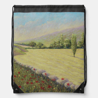 Cornfield & Poppies Dordogne France Drawstring Bag