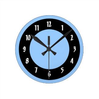 Cornflower Blue and Black Circles Wall Clock