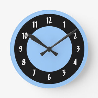 Cornflower Blue and Black Circles Round Clock