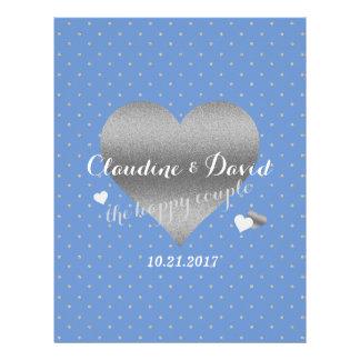 Cornflower Blue And Silver Polka Dot Wedding Flyer