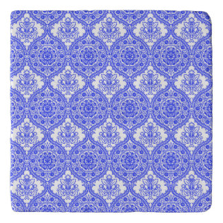 Cornflower Blue and White Antique Decor Trivet