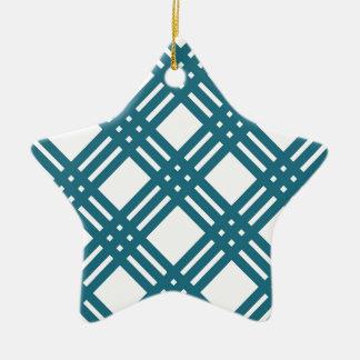 Cornflower Blue Lattice Ceramic Star Decoration