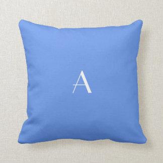 Cornflower Blue Pillow w White Monogram
