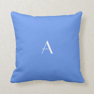 Cornflower Blue Pillow w White Monogram Cushions
