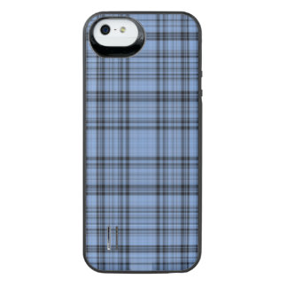 Cornflower Blue Plaid iPhone SE/5/5s Battery Case