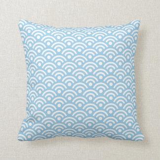 Cornflower Blue Seigaiha Pillow Throw Cushions