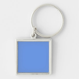 Cornflower Blue Solid Color Silver-Colored Square Key Ring