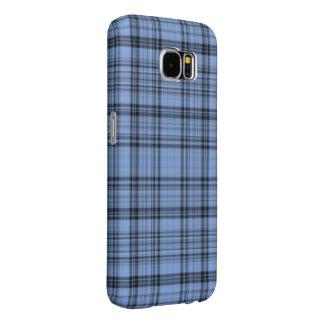 Cornflower Blue Tartan Samsung Galaxy S6 Cases