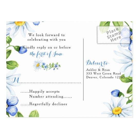 Cornflower Blue White Daisy Floral Wedding RSVP Postcard