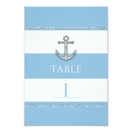 Cornflower Blue & White Stripes Diamond Anchor Card